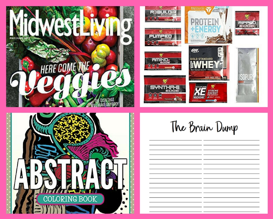 FOUR (4!) FREEbies: Annual Subscription to Midwest Living Magazine, Optimum Nutrition Amazon Box, Abstract Adult Coloring Book and Brain Dump Printable Page!