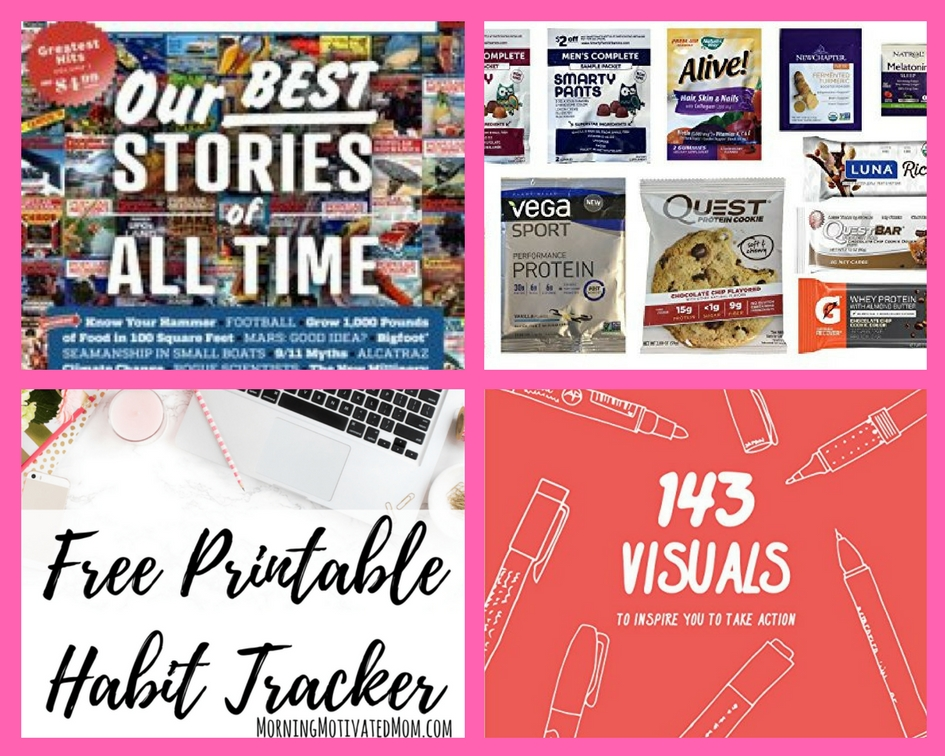 FOUR (4!) FREEbies: Annual Subscription to Popular Mechanics Magazine, Nutrition and Wellness Amazon Box, Printable Habit Tracker and 143 Visuals eBook!