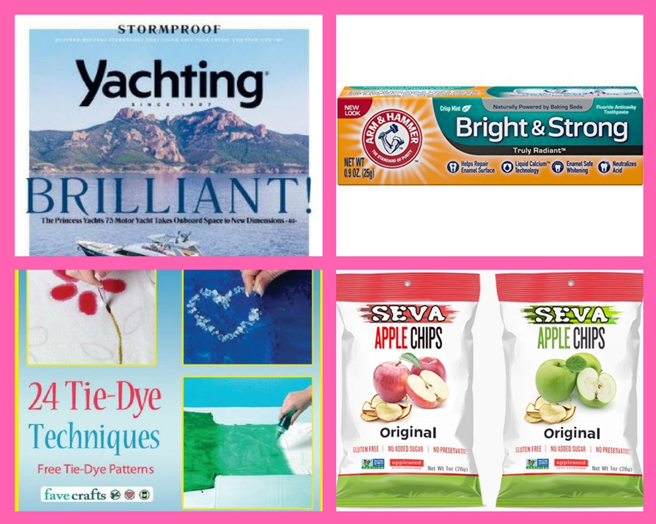 FOUR (4!) FREEbies: Annual Subscription to Yachting Magazine, Toothpaste form Amazon, 24 Tie-Dye Techniques eBook and Apple Chips!