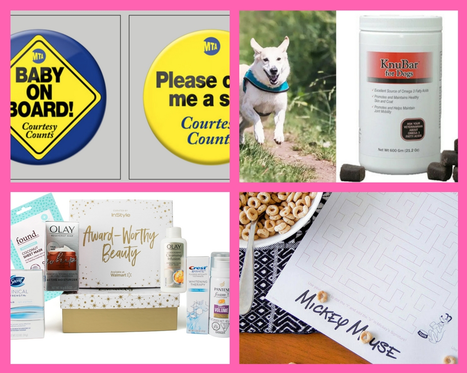 Make Sure to Get Your FOUR (4!) FREEbies: Baby on Board Pins, Dog Treats, Walmart Woman's Beauty Box and Mickey Mouse Placemat!