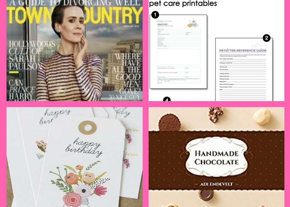 FOUR (4!) FREEbies: Annual Subscription to Town & Country, Pet Care Printables, Birthday Printable Tags and Handmade Chocolate eBook!