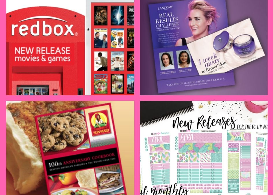 Check Out These FOUR (4!) FREEbies: Redbox Game Rental, Lancome Cream, Sun Maid Cookbook and April Printable Planner Stickers!