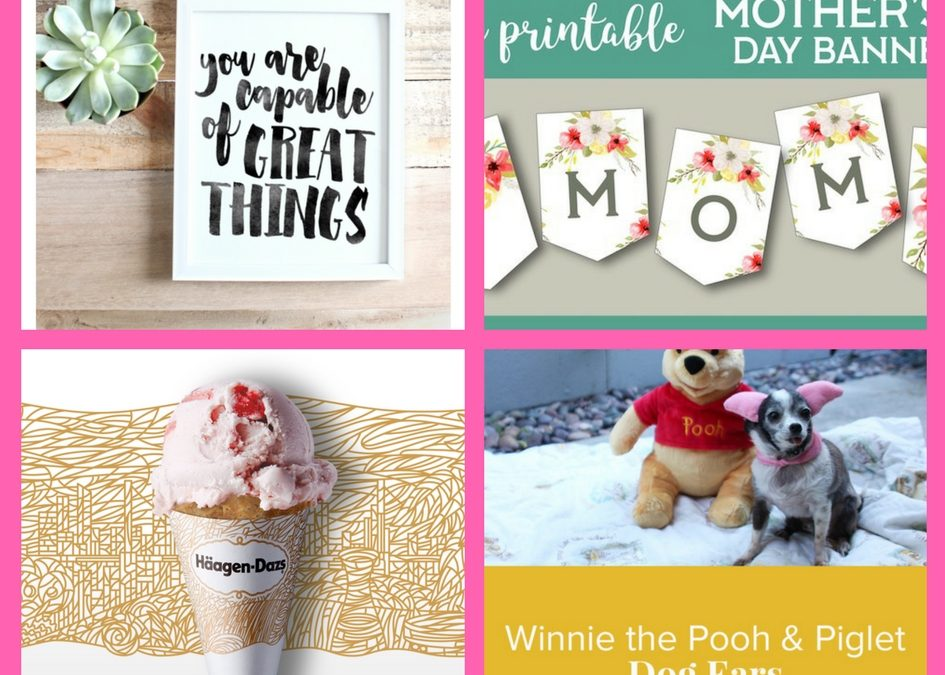 Have You Seen These FOUR (4!) FREEbies: Printable House Decor, Printable Mothers Day Banner, Ice Cream Cone and Winnie the Pooh Dog Ears!