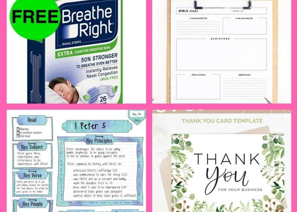 Did You See These FOUR (4!) FREEbies: Breathe Right Strip, Bible Study Planner, Bible Journaling Printable and Printable Thank You Card!