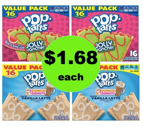 Grab a Deal on $1.68 Dunkin Donuts or Jolly Rancher Pop Tarts 16 Packs at Walmart!