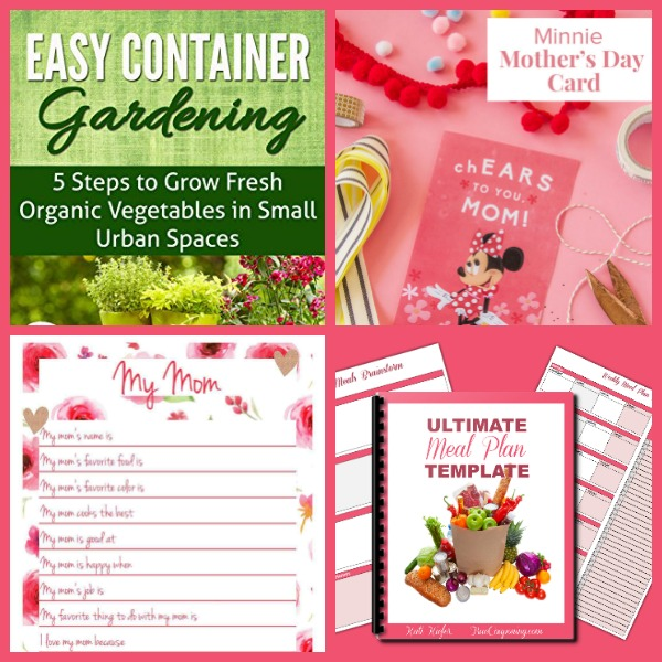 Did You See These FOUR (4!) FREEbies: East Container Gardening eBook, Minnie Mother's Day Printable Card, My Mom Printable Page and Meal Planner Printable!