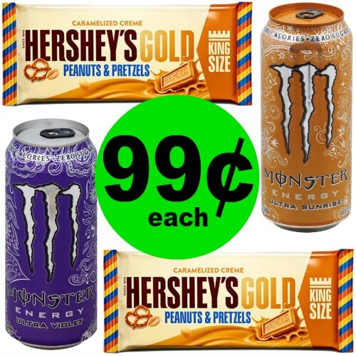 Monster Energy Drinks & Hershey's Gold Bars, 99¢ Each At Publix! (Ends 5/25)