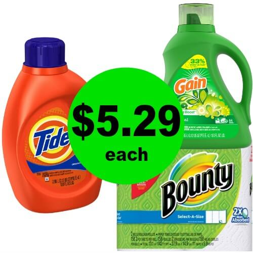 $7.94 for 100 Oz Gain & Tide Detergents & FREE Bounty Giant 4 Pack at CVS! (Ends 5/19)