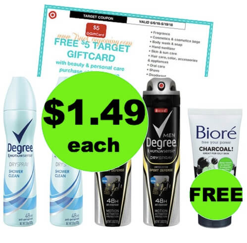 SCORE $1.49 Degree Spray Deodorant and FREE Biore Cleanser at Target! (Ends 5/19)