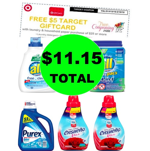 Just $11.15 for FIVE (5!) Laundry Products at Target! (Ends 5/19)