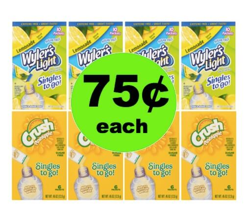 (NLA) PRINT NOW for Assorted Drink Mix Packets 75¢ Each at Walmart!