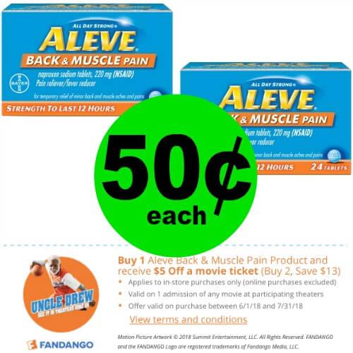 Print For 50¢ Aleve Back & Muscle Plus Fandango Movie Bonus At Publix! (Ends 6/5 Or 6/6)