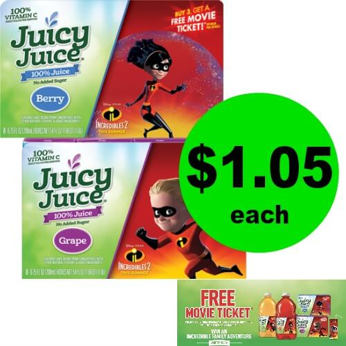 Juicy Juice Bottles or Multipacks are $1.05 Each at Publix PLUS FREE Movie Ticket Offer! (6/6-6/12 or 6/7-6/13)