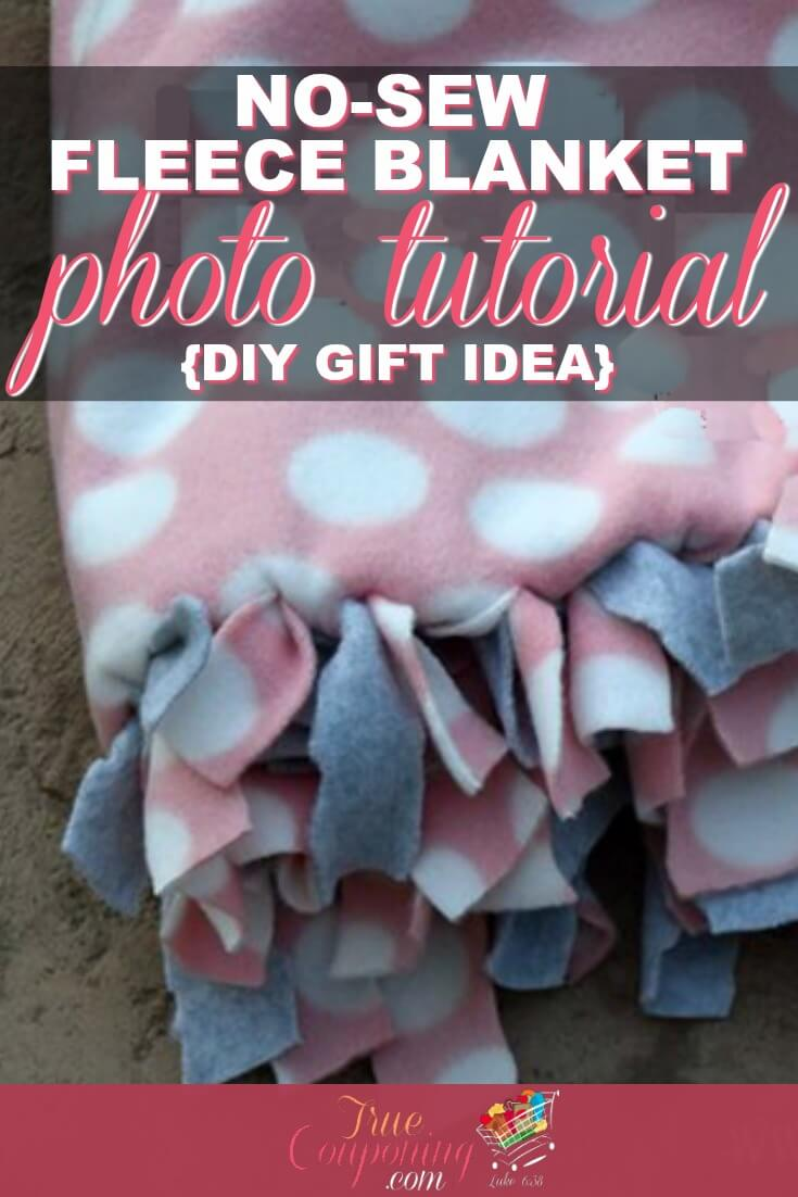 Need a quick gift? If you have an hour, you can make this no-sew custom fleece blanket! These custom fleece blanket gifts are simple to make and are handmade with love! Check out how easy they really are! #truemoneysaver #diy #diycraft #diyblanket #blankets #fleece #fleeceblanket #babyblanket #babyblankets #blanketgifts #nosew #nosewblanket