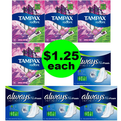 CVS Deal: 🏃‍♀️ $1.25 Tampax & Always Feminine Products! (3/31-4/6)