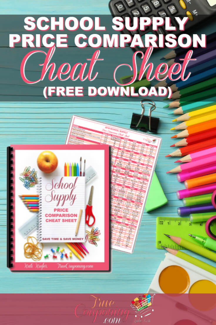 Know where to buy your School Supplies for the BEST price! Make sure you are getting the BEST DEAL by downloading this Price Comparison Cheat Sheet! #schoolsupplies #backtoschool #truecouponing #savingmoney