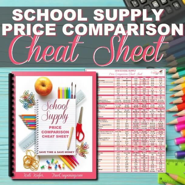 2018 School Supply Price Comparison Cheat Sheet