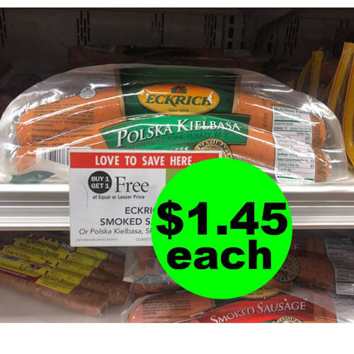 Publix Deal: ? Print For $1.45 Eckrich Smoked Sausage (Save 64% Off!)! (Ends 8/28 or 8/29)