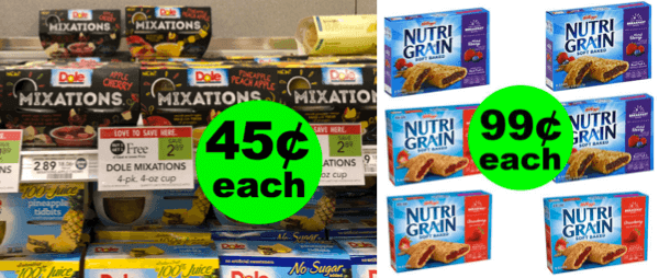 Fox Deal Of The Week: Two Cheap Lunch Items: 45¢ Dole Mixations & 99¢ Nutri-Grain Bars