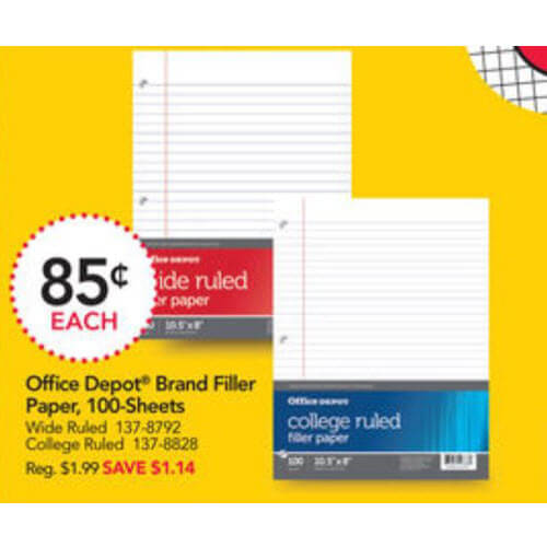BTS Deal: 📄 85¢ Filler Paper At Office Depot/Office Max! (8/12-8/18)