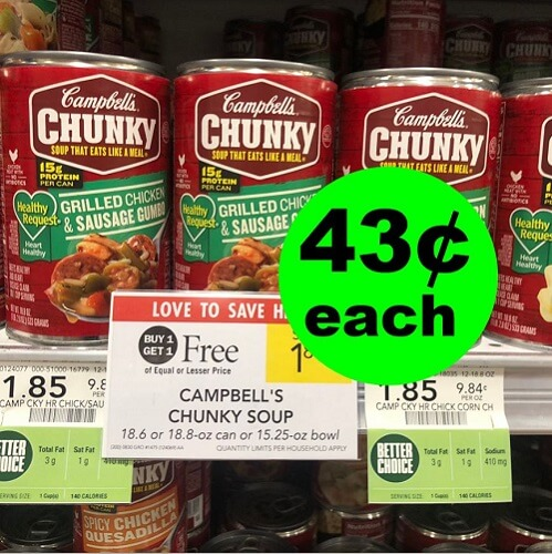 Publix Deal: Print For 43¢ Campbell's Chunky Soups! ? (Ends 11/6 or 11/7)