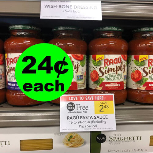 Publix Deal: 🍝 24¢ Ragu Simply Pasta Sauce! (5/8-5/14 Or 5/9-5/15)