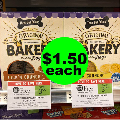 Publix Deal: ? $1.50 Three Dog Bakery Dog Treats (Save 62% Off)! (Ends 10/16 or 10/17)