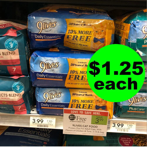 Publix Deal: ? $1.25 9Lives Dry Cat Food Bags! (Ends 11/21)