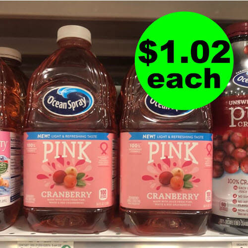 Publix Deal: $1.02 Ocean Spray Pink Cranberry Cocktail Drinks! ? (Ends 10/21)