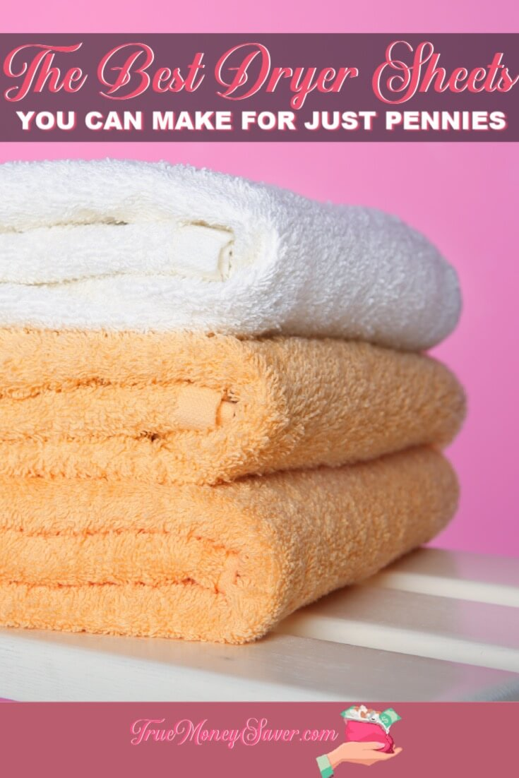 Looking to make your clothes soft without adding chemicals? Then you need to make these Best Dryer Sheets that\'s safe for all your clothes! #truemoneysaver #diy #vinegar #softener #dryer #dryersheets