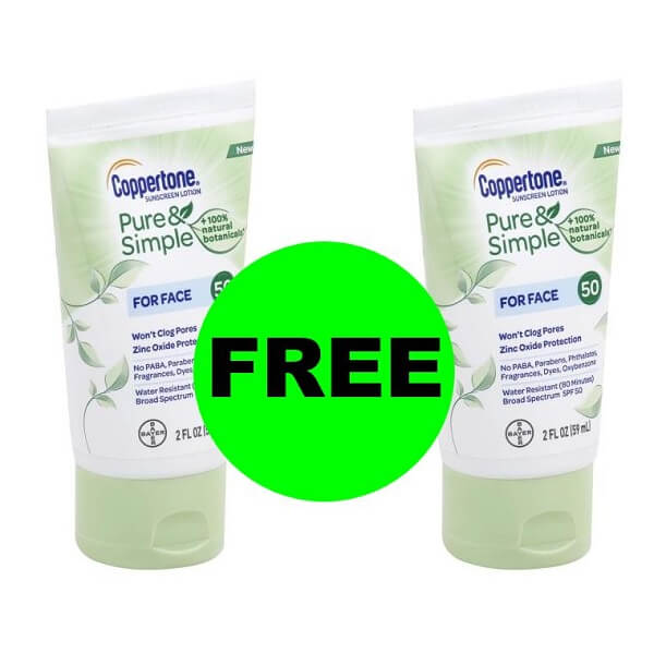 Publix Deal: (2) FREE Coppertone Pure & Simple Face Suncare!