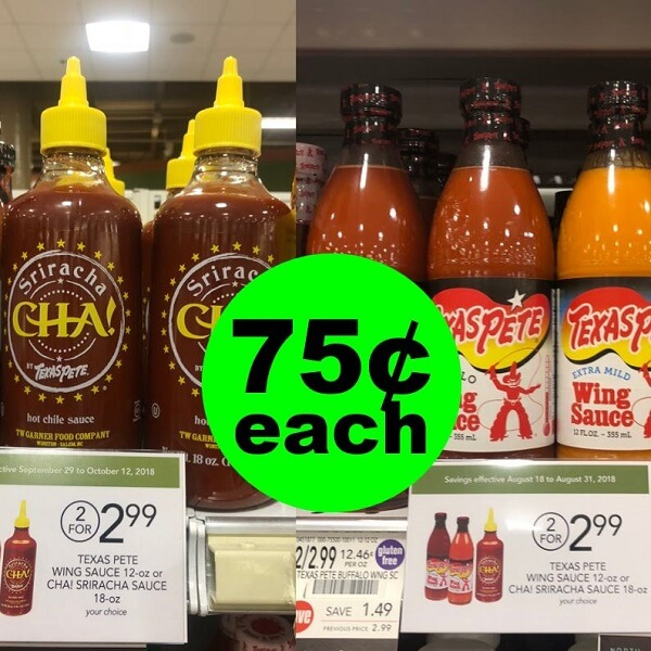 Publix Deal: 🌶️ 75¢ Texas Pete Wing Sauce & Cha! Sriracha Sauces (After Rebate)! (Ends 6/5 Or 6/7)