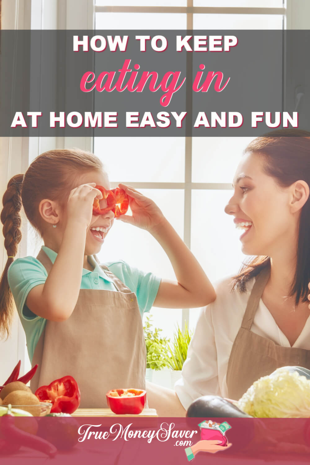 Wasting money by eating out? Start this eating at home challenge! Eating at home to save money can be a fun challenge! You can easily start how to make eating at home fun with these tips!
