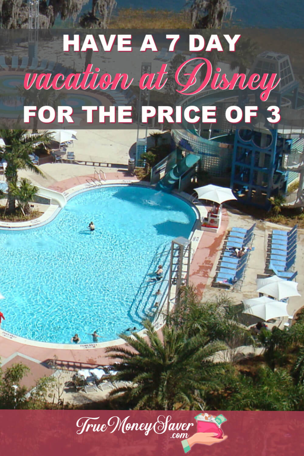Are you wanting to take a week vacation to Disney World but don\'t don\'t think you can afford an entire week? Here\'s how you can enjoy a 7 Day vacation for the price of 3! #truemoneysaver #disney #disneyworld #savings #vacation