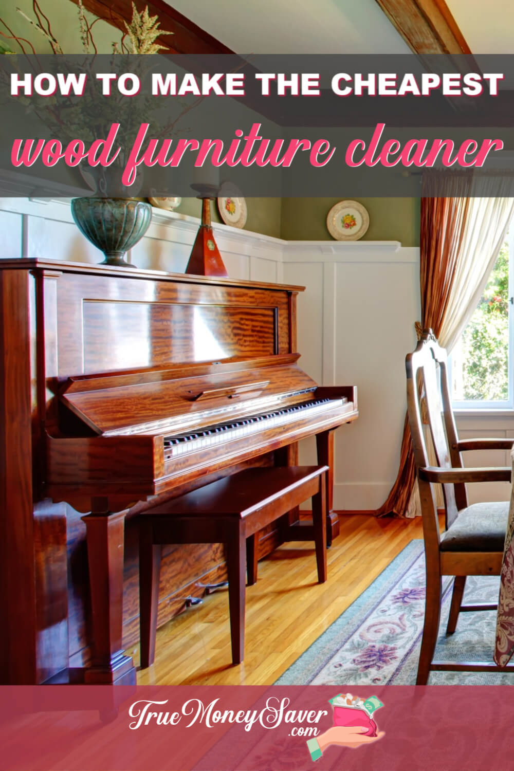 Need a homemade wood cleaner and polish that will save you money and time? Then you need to make this DIY Wood Furniture Cleaner! This wood furniture cleaner polish works great and will save you money! Make this recipe today! #truemoneysaver #savemoney  #diy  #woodcleaner #woodcleaners #diywoodcleaner #woodpolish #woodcleanerrecipe #woodcleanerspray #diycleaner #essentialoils #diycleaners