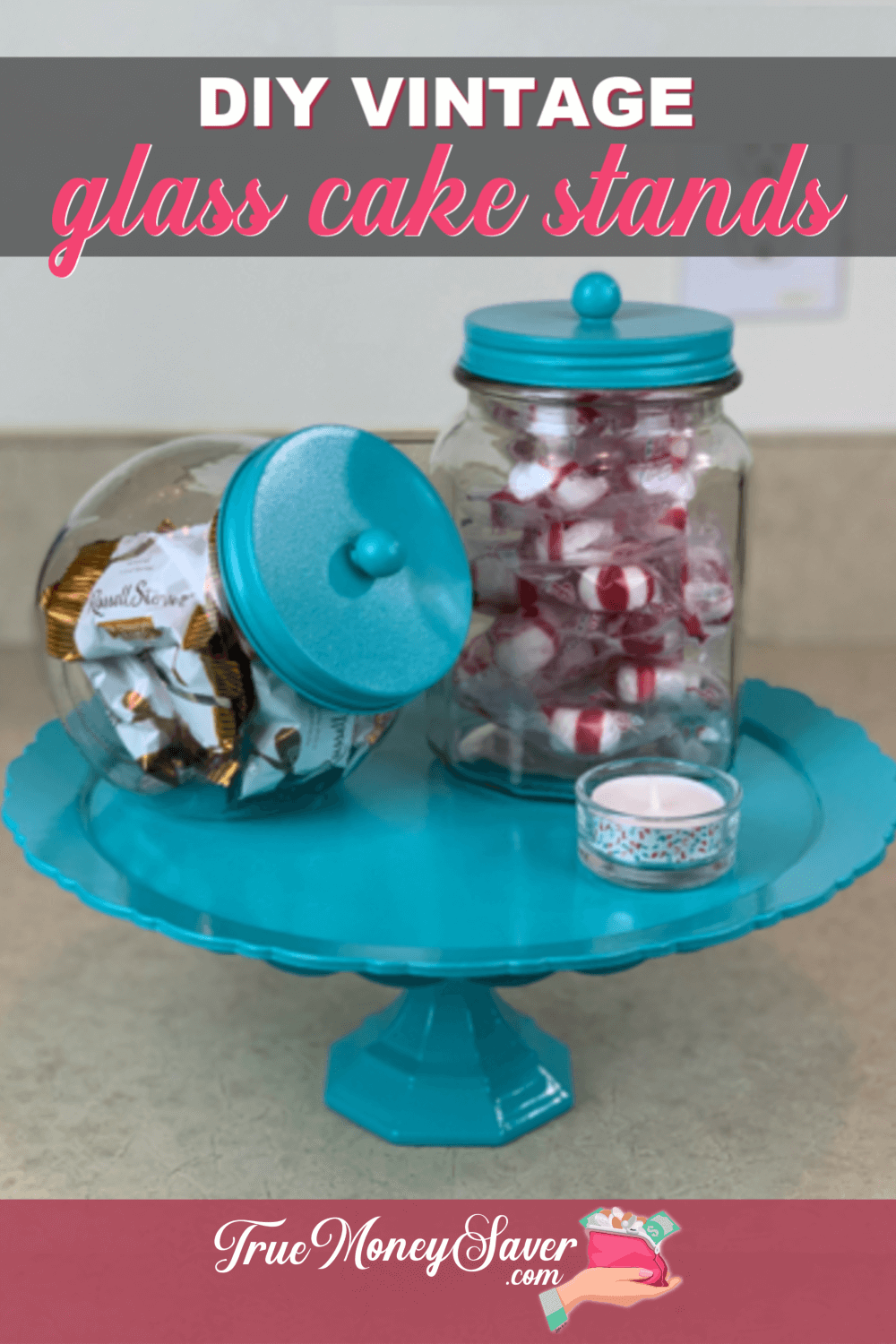 Ready to make some great gifts? Then you need to make this DIY easy cake stand! Make this cheap cake stand from vintage platters and glasses. Everyone will love these Vintage Glass Cake Stands!