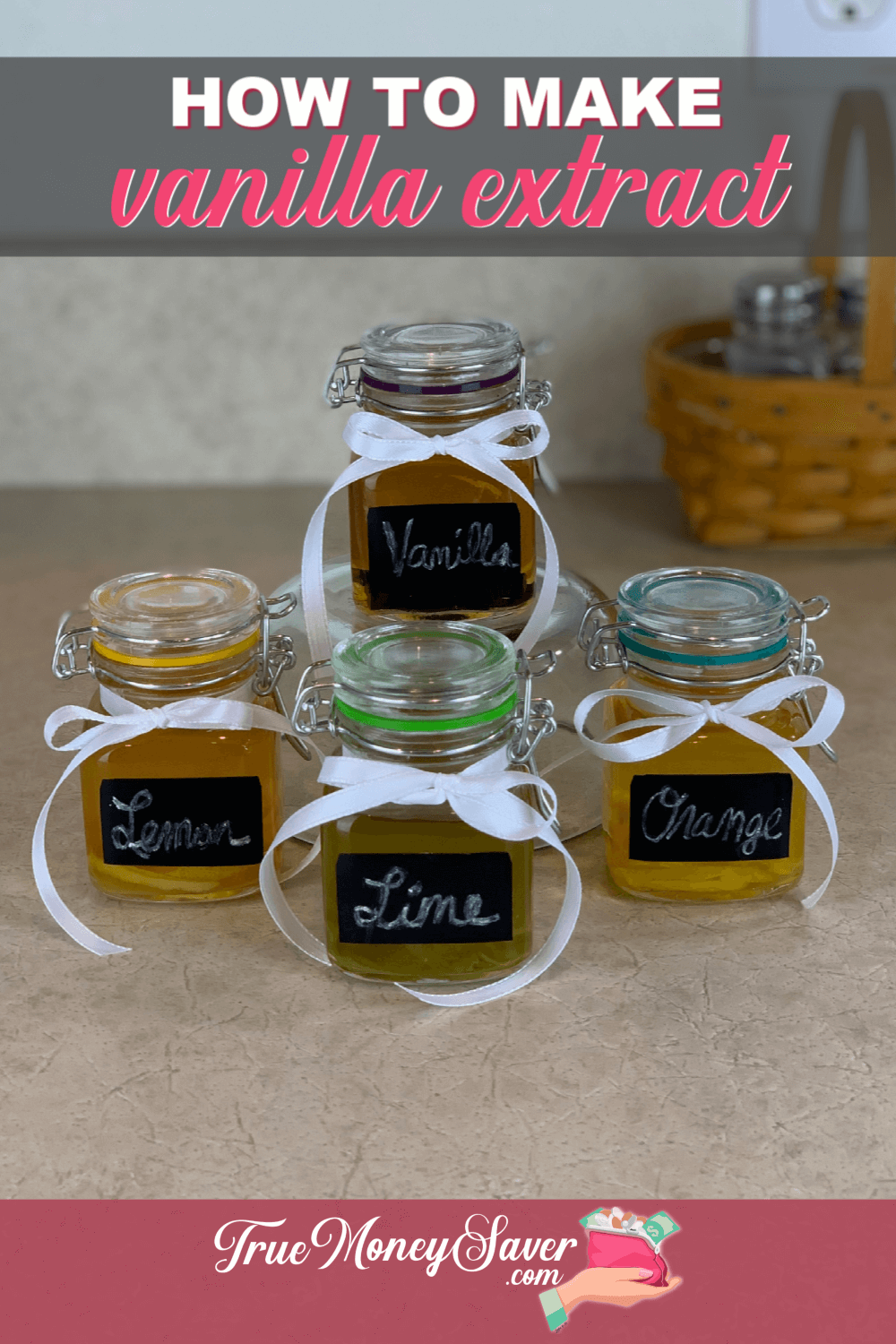 Did you know that this homemade vanilla extract recipe is just one of the extracts that you can make for gifts this year? Plus, these homemade extracts recipes are frugal to make! When you learn how to make vanilla extract, you\'re also learning how to make all the baking extract flavors! Let get extract making!