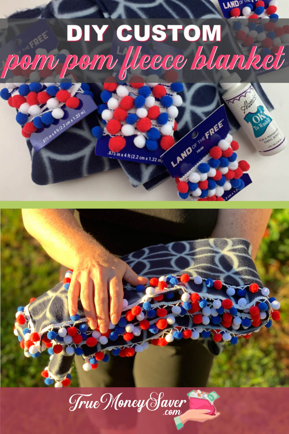 Looking for a great gift to DIY? Check out this DIY Pom Pom Fleece Blanket gift and no sew fun fleece blanket tutorial! It\'s an easy no sew fleece blanket that you can make today. Add these custom fleece blanket gifts to your gift list this year!