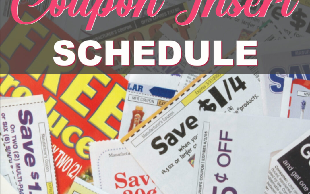 2019 Coupon Insert Schedule